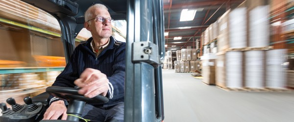 CILT Awards and Sponsrship man in a fork lift