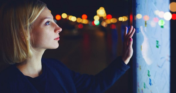 CILT Future of Transport women using interative urban screen