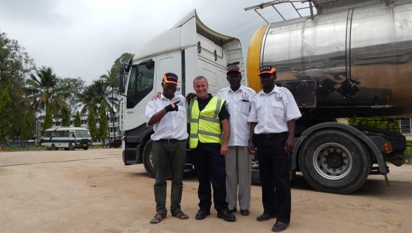 CILT & Transaid Road Saftey training in Africa. Driver and trainers with a tanker.