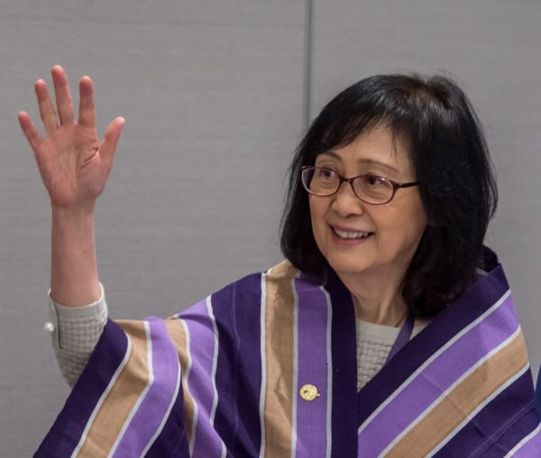An image of Dr Dorothy Chan in her WiLAT shawl