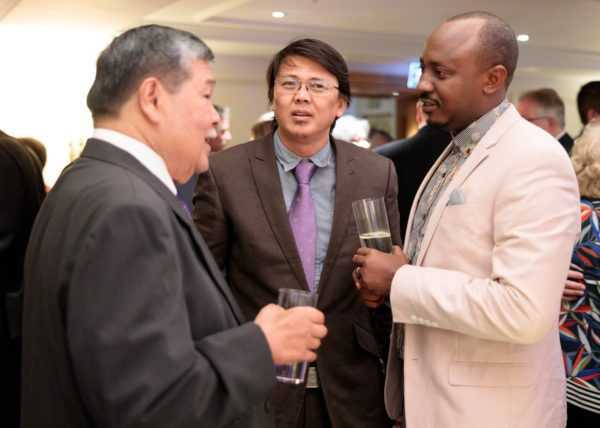 Guests conversing during the CILT Centenary celebrations at the Savoy Hotel